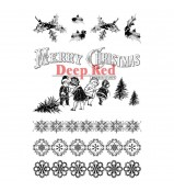 Deep Red Christmas Holly Borders cling stamp