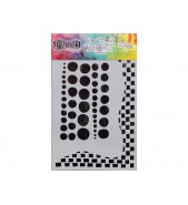 Dylusions Stencil Chequered Dots 5x8 by Crafters Workshop *
