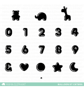 Mama Elephant BALLOON ET CETERA NUMBERS stamp set