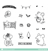 Mama Elephant FESTIVE MICE stamp set