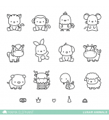 Mama Elephant LUNAR ANIMALS stamp set