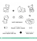 Mama Elephant PLAYFUL PUPS stamps